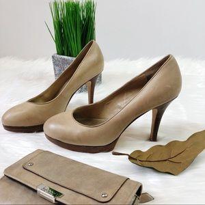 Antonio Melani Gorgeous Tan Doe Wood Heels Size 6